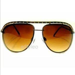 Jessica Simpson Aviator Sunglasses Brown Gold J472